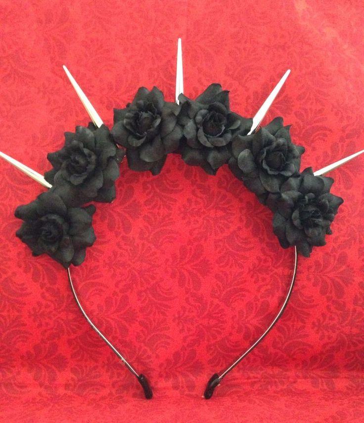 Black Mini Rose Spiked Boutique Flower Crown Halloween Goth Punk Beautiful #Handmade
