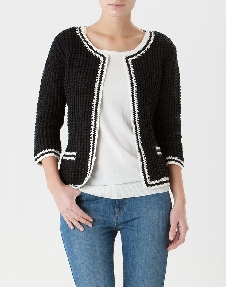 Knitting Pattern Chanel Style Jacket : Inspiration for a cardigan/jacket from one of the numerous Chanel style jacke...