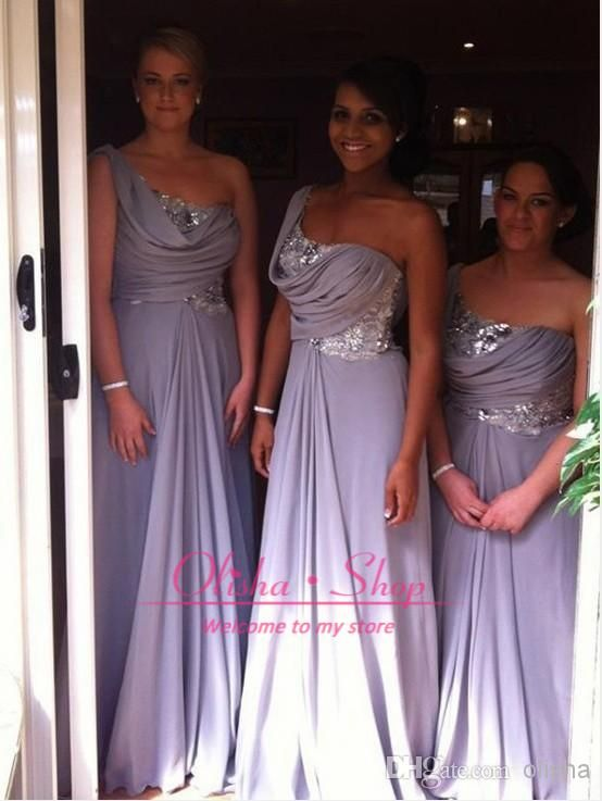2014 Light Purple Bridesmaid Dresses Sexy One Shoulder Sequins Ruffle Chiffon Summer Beach Long Cheap Hot Selling Prom Evening Gowns BO6459 Online with $79.42/Piece on Olisha's Store | DHgate.com