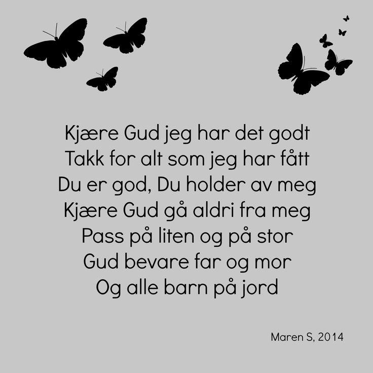 Kjære Gud.  Barnesanger. Barnerom. Interiør. Nursery. Poster. Print. Maren S, 2014.