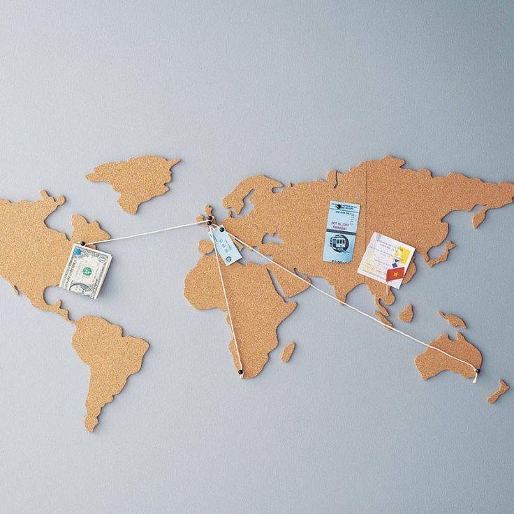Carte du monde en liège - Corkboard map