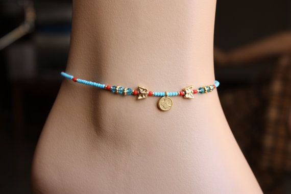 Authentic  Turquoise and Khaki  Seed Bead  Anklet by monroejewelry