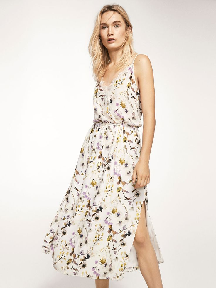 Autumn Spring summer 2017 Women´s FLORAL PRINT CAMISOLE DRESS at Massimo Dutti for 150. Effortless elegance!