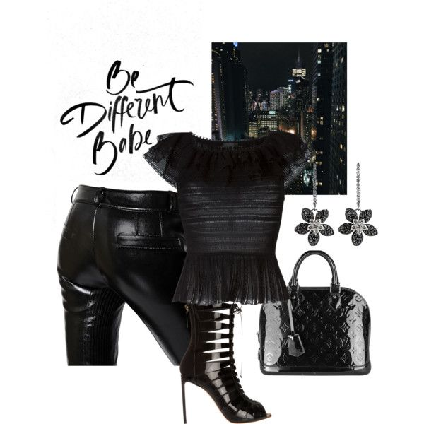 A Black set by besyata on Polyvore featuring мода, Alexander McQueen, Each X Other, Francesco Russo and Louis Vuitton