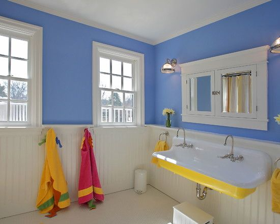 Blue and Yellow Bathroom with Kid Friendly Hangers