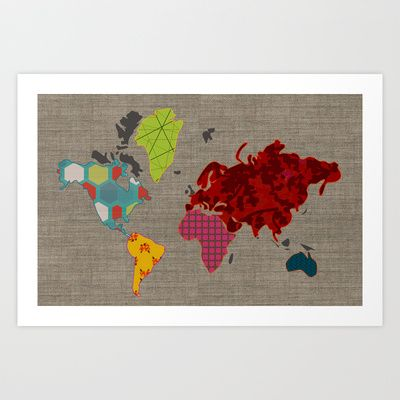 Simi's Map of the World Art Print by Simi Design - $15.60    http://society6.com/SimiGauba/Simis-Map-of-the-World_Print