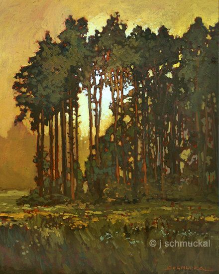 Mission Arts and Crafts CRAFTSMAN Pine Sunset - Giclee Art PRINT of Original Painting matted 11x14 by Jan Schmuckal via Etsy