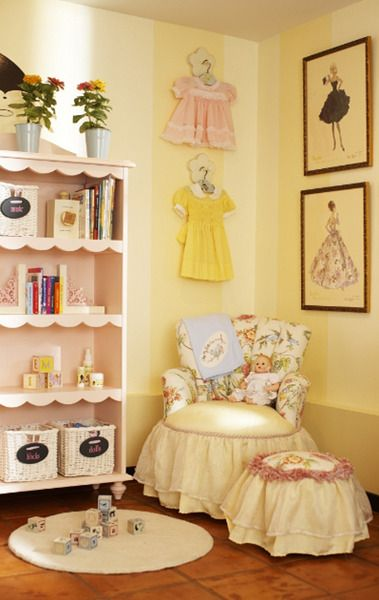 Love this idea for a little girl's room. Vintage barbie prints and vintage dresses for decor. So classy and sweet!