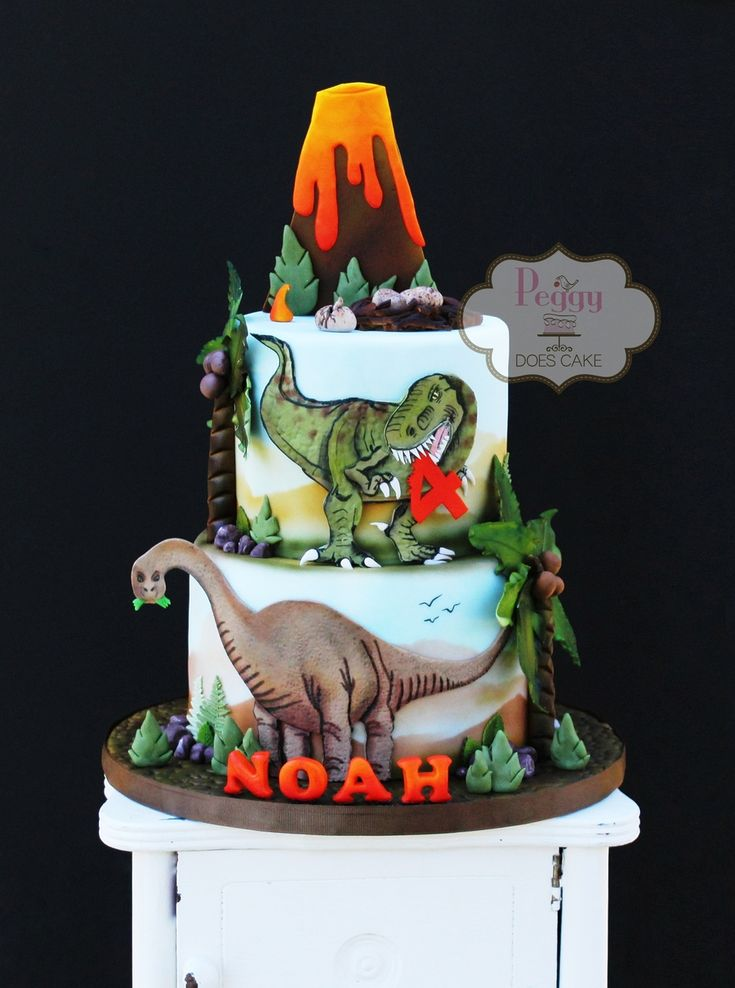 Volcano And Dinosaurs Cut From Fondant With Tylose Added