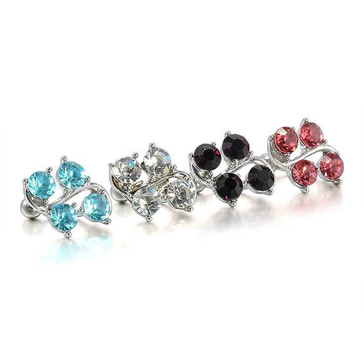 5 Colors High quality Medical Steel Crystal Rhinestone Belly Button Ring Dangle Navel Body Jewelry Piercings Tassel Freeshipping