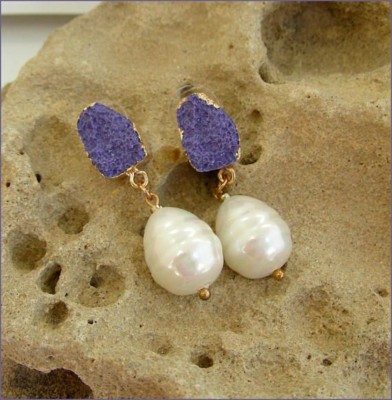 blue/white pearl woman earrings Boucles d'oreilles