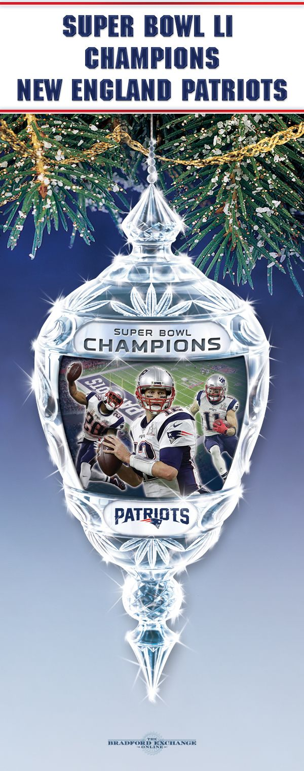 Celebrate your Super Bowl LI Champions, the New England Patriots, for holiday seasons to come with this commemorative glass ornament that really lights up!