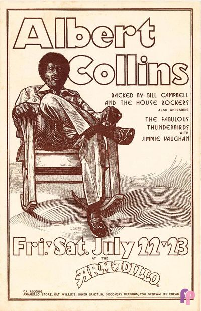 1977 .....  ALBERT COLLINS ........    poster for Armadillo Club ........   .  Artist: Guy Juke.