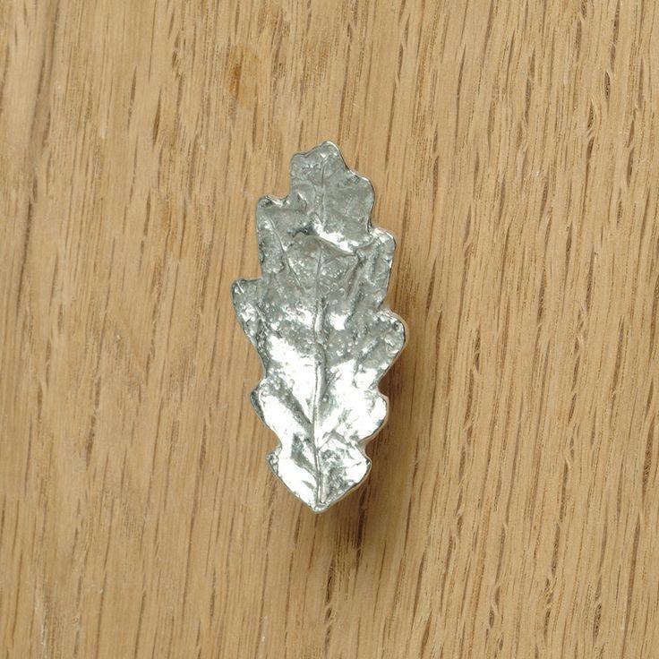 Oak leaf cupboard door handle. Kitchen handles, drawer pulls UK made pewter cabinet  handles