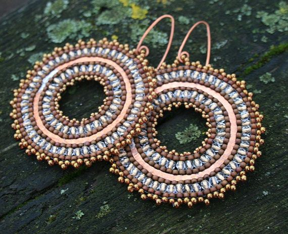 Hammered, copper, crystal, gold, beaded beadweaving, earrings, toho, seed beads, for her, as a gift, Valentine's Day