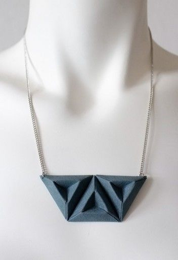 Origami triple triangle necklace handmade of paper laminated with grey fabric. Designed by Eleonora Colonna for SAY IT Clothing