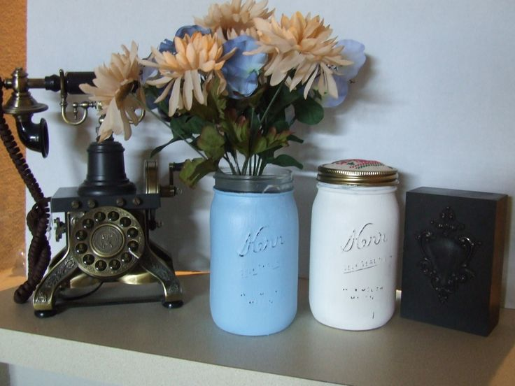 Painted mason jars large mason jars white and blue shabby chic decor country decor table - French country table centerpieces ...