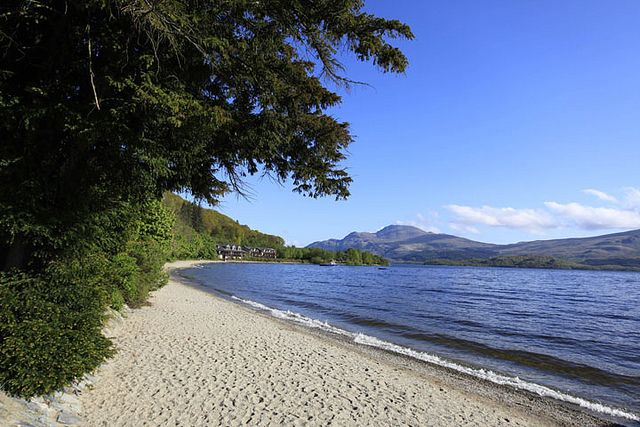 The sandy beach at Luss on the west side of Loch Lomond
