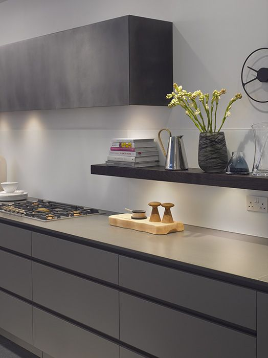 I like the idea of darker cupboards below & above the cupboards are a lighter shade of the same colour.