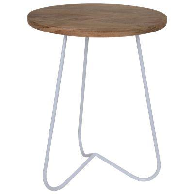 Krukje Ferro 29163 wit met hout #Casabella #Furniture #Kruk #Wonen