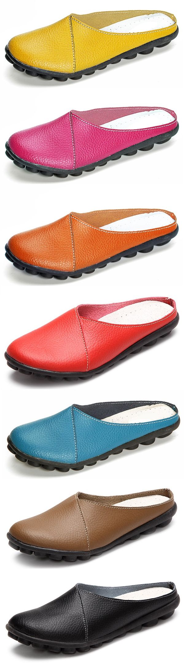 SOCOFY Big Size Pure Color Soft Sole Casual Open Heel Lazy Flat Shoes