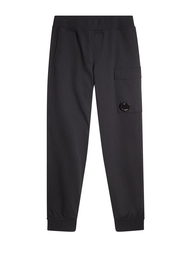 C.P. Company Diagonal Fleece Cargo Trackpants in Black