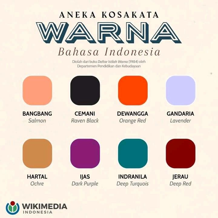 Aneka Kosa Kata Warna Bahasa Indonesia Warna Kosakata Bahasa
