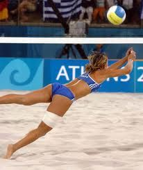 beach volleyball action from the Athens Olympics in 2004