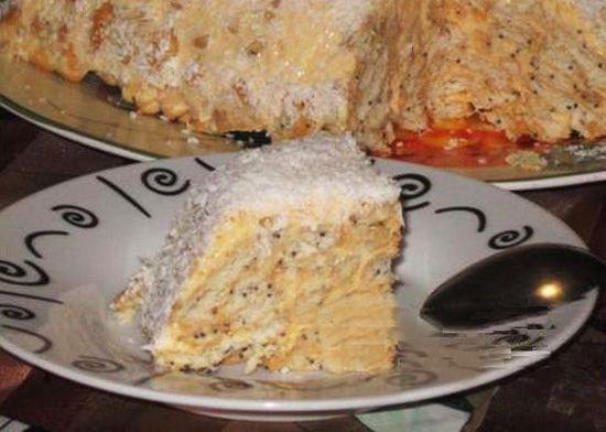 Торт из крекеров с маком