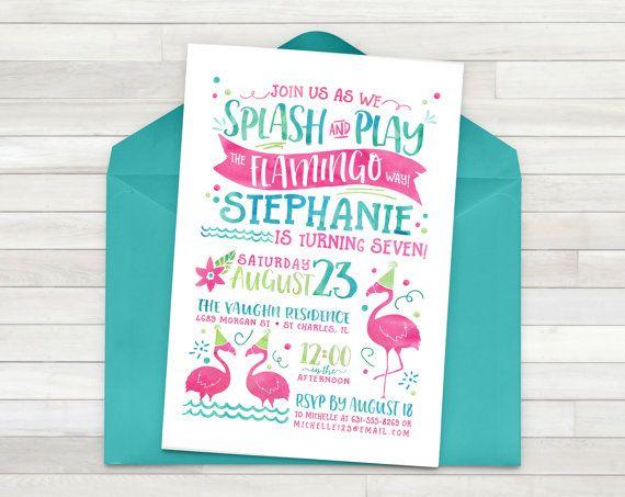 Flamant rose fête d'anniversaire Invitation, Invitation flamant rose, Luau Invitation, Invitation Party Luau hawaïen, Tropical - imprimable