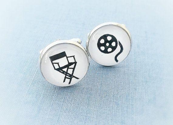 Director's chair cuff links,Gift for actors,Groom cufflinks,men's gift,Bobine cinema cufflinks,Gift for movie director,cinema lover,-cinema