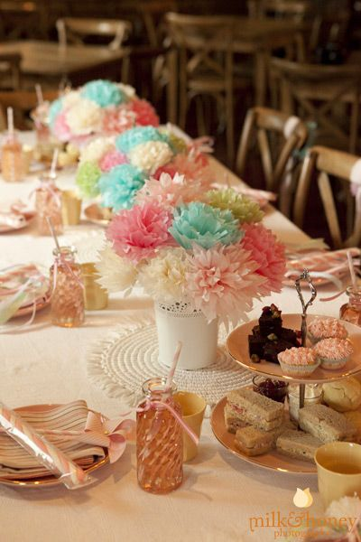 Tissue paper pom flowers; high tea. Styling by @Lyn Yu at Rosebud Designs {photography http://milkandhoney.com.au }