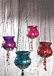 Lantern~Hanging Tealight Holder Indian Style Beaded Metallic Glass Candle Holder~Fair Trade by Folio Gothic Hippy TL140