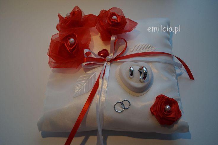 Dodatki Ślubne , Poduszka - Poduszki na obrączki , Czerwień i Biel, Czerowny , Ślub , Wedding
