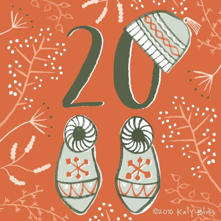 Winter woolly accessories in watercolour on day 20 of an illustrated advent calendar by Katy Bloss.