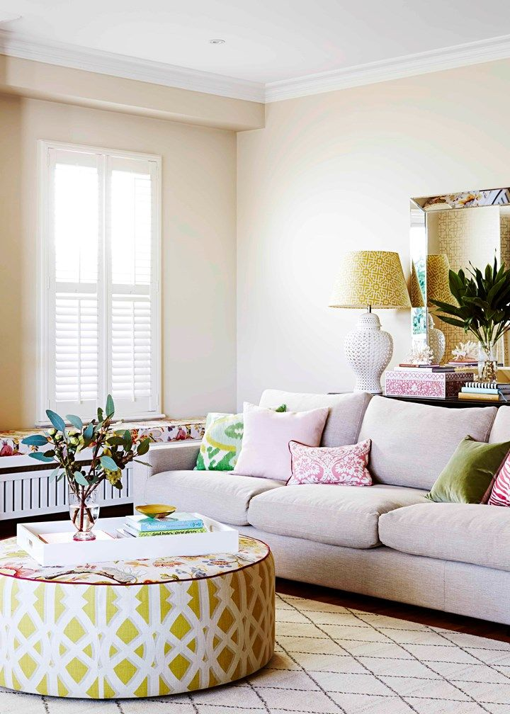 This family's love of colour and pattern is beautifully showcased in their sunny living room | Home Beautiful Magazine Australia