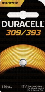 Duracell 309/393 silver oxide button cell, 1pk carded
