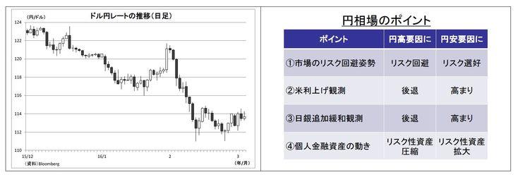 ドル円レート推移とシナリオ 複雑化する円相場を読む4つのポイント~金融市場の動き(3月号) | ニッセイ基礎研究所