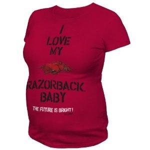 NCAA Arkansas Razorbacks T.Fisher I Love My Baby Maternity Tee Shirt