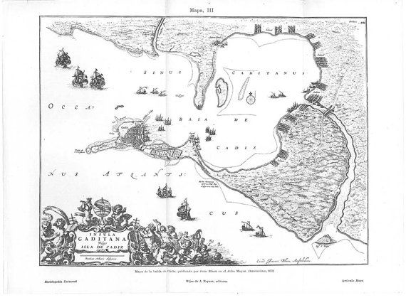Map 1923 Bay of Cádiz Vintage Reproduction 1672   by carambas, $16.00Cádiz Vintage, Reproduction 1672, Maps 1923, 1923 Bays, Vintage Reproduction