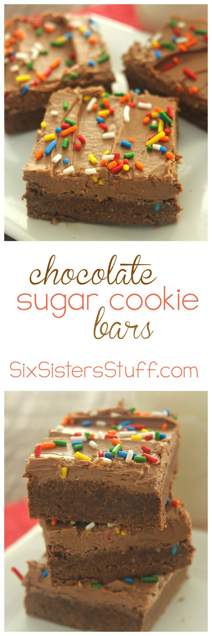 Chocolate Sugar Cookie Bars on SixSistersStuff.com
