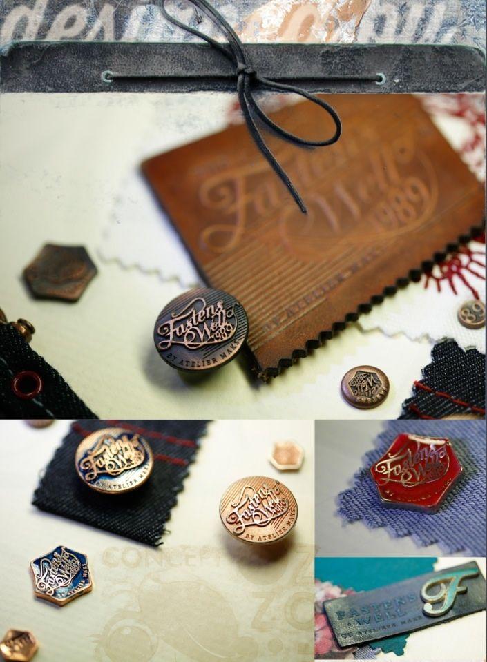 Denim detal. Metal button rivet metal pin and leather label.
