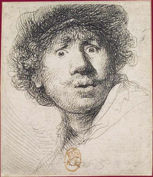 Rembrandt, Autoportrait aux yeux hagards, 1630, eau-forte et burin, 50 x 43 cm, Paris, BNF,