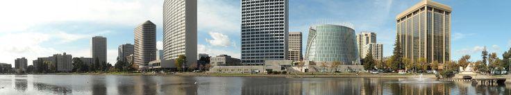 Vista panorâmica do centro de Oakland, e Lago Merritt. Califórnia, USA.           - Wikipédia, a enciclopédia livre