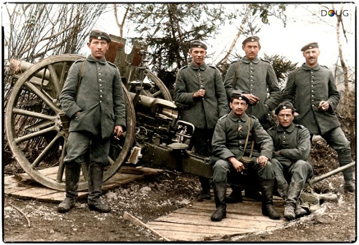 The crew of a Bavarian 7.7cm Feldkanone 96. In 1914, the FK96 was the most numerous gun in the German arsenal, with around 5,100 of them ready to be brought into action. It was the workhorse of the Feldartillerie regiments and played a part in nearly every battle fought during WW1.