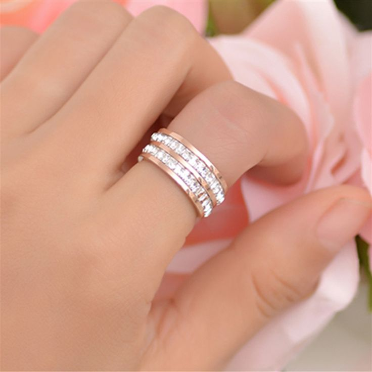 2016 Vintage Women Rings Stainless Steel Double Row Rhinestone Anniversary Party Ladies Fashion Jewelry