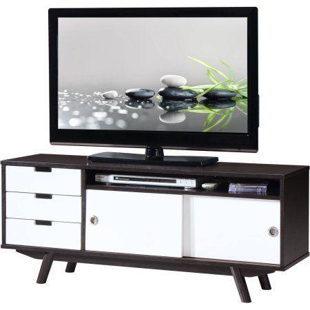 Techni Mobili Modern Wood Veneer 55 inch TV Stand with Sliding Doors, Wenge, Brown