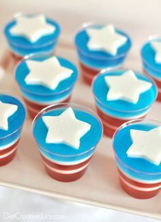 Avengers Party Ideas - Captain America Jelly Cups (Dairy Free - made with homemade coconut jello, cherry , and berry blue)