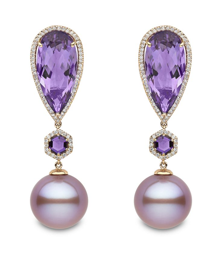 New to the Couture Show Las Vegas is Yoko London with its rose gold earrings featuring pink freshwater pearls, amethysts and diamonds.