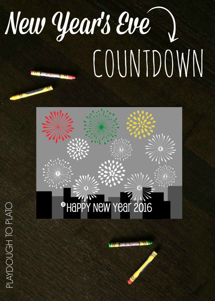 Such a fun way to countdown to 2016. Fun New Year's Eve Countdown for Kids! Color a firework every hour until midnight.